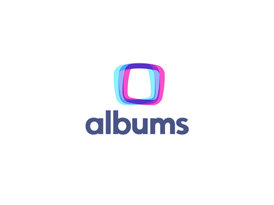 Albums.App photo picture sharing album rounded square screen multiply bending light effects overlapping crossing colors logo icon design brand android ios smarphone mobile albums app