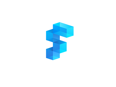 F F Engineering 7gone 3d icon brand logo production build transparent glass geometry square 3d logo logo f letter f