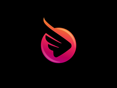 Wings with play button 7gone logomark icon logo negative space triangle media motion fly bird den button play wings