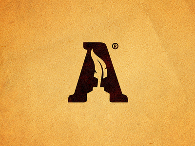 Letter A story artist 7gone icon brand book script writer print paper negativespace ink logo feather letter a