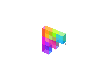 3D pixelated letter F 7gone plastic glass playful software gaming game logo development colorful rainbow 3d pixels