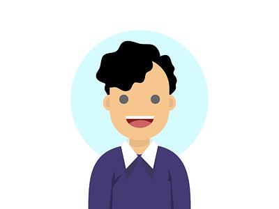 School Boy Avatar Flat Vector Illustration simple character vector human avatar people flat design illustration design