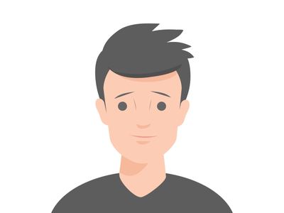 Young Man simple human shirt black cool 2d design flat young man avatar character illustration