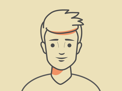 Character design - line style. outline guy man avatar line style line vector simple illustration character design