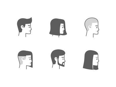 People avatars - Profile view social vector head face icon view profile side clean avatar people simple design illustration