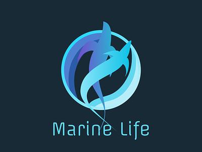 Marine Life - logo concept mark logoform flow blue animals aqua water ocean marine simple abstract logo design