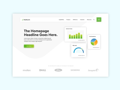 Homepage Exploration - WIP digital homepage design stats ui stats corporate design corporate website web design material design webdesign web ui illustration graphs sass homepage