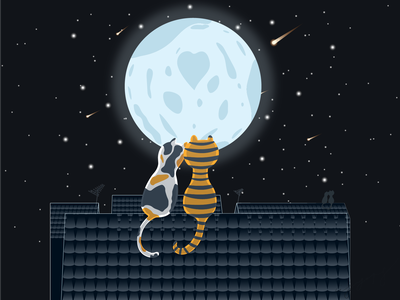 cats in love cats in love poster postcardproject postcard design postcard moonlight moon cats on the roof cat cats