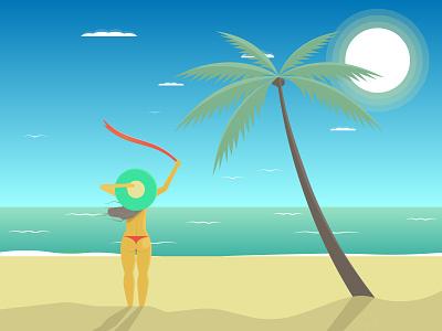 girl on the sea beach coast palmtree beach girl illustration illustration design illustrator illustration digital illustration art illustraion sea