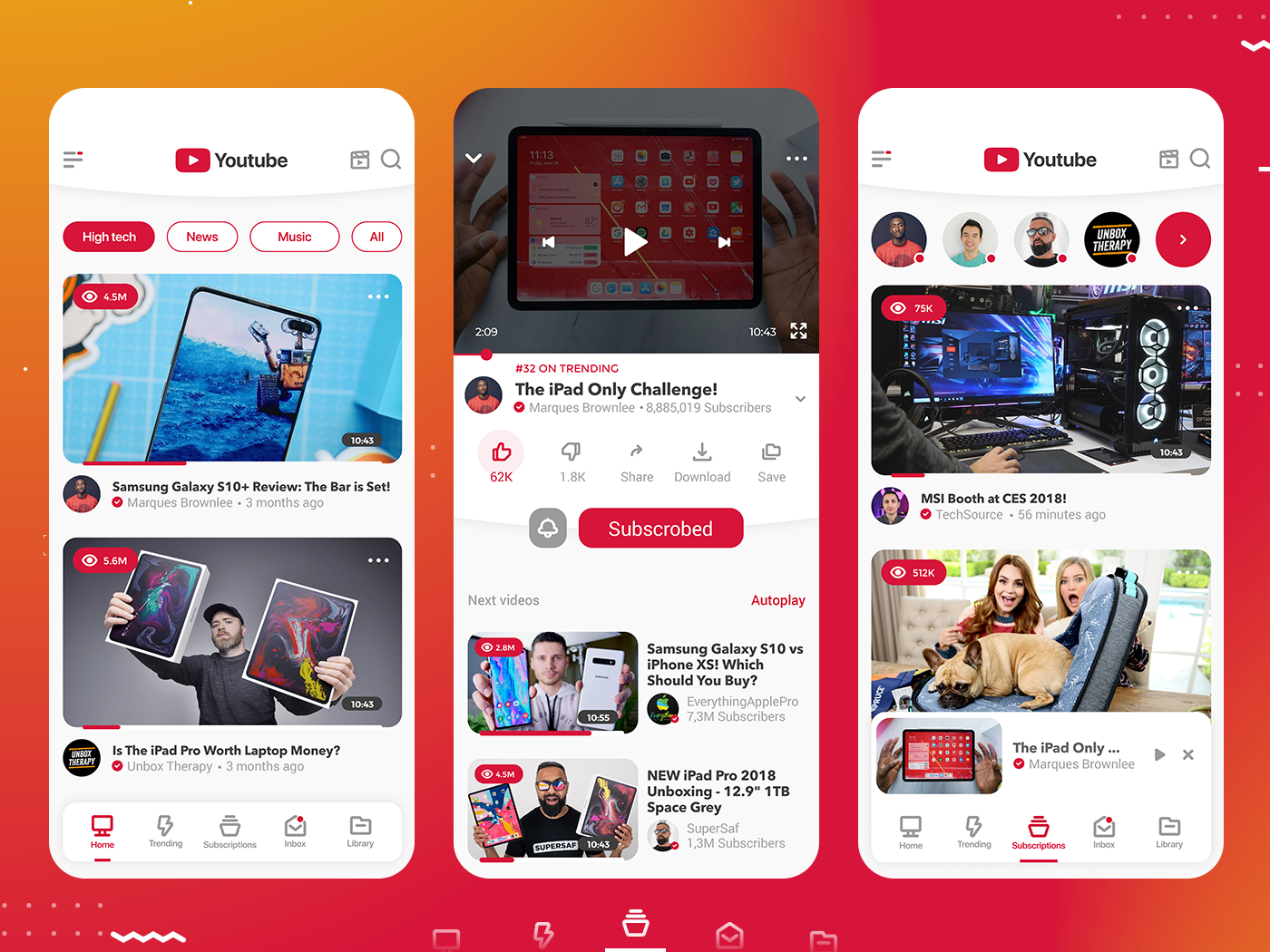 Youtube app - Ui redesign flat design flat ui app design design app ui  ux design user experience userinterface user interface adobe xd xd xddailychallenge flat ui design uiux uidesign ui kit app ui design app ui youtube app redesign concept youtube