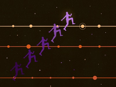 ✧ timeline jumping ✧ jumping game character illustration timeless space timeline jumping