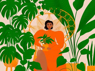 plant mama illustration women empowerment women woman chair green plant mom plant plants