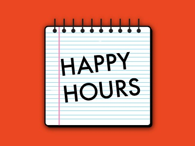Dribbble simplicity happy hours happy hour hours. notebook notepad line lines book draft futura typography red blue pink black margin brick simple