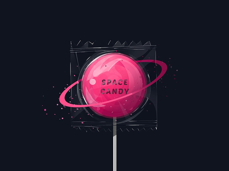 Space Candy sweet planet vector surreal illustration space candy