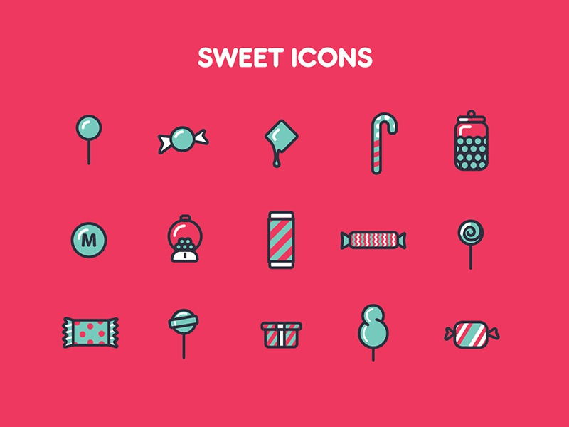 Sweet Icons vector icons chocolate sweet candy iconography