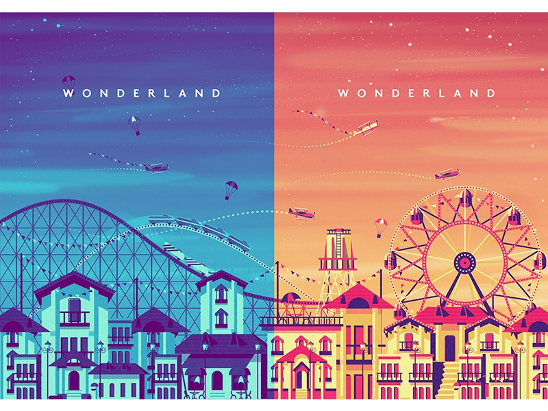 Wondeland decor artwork party adventure festival surreal poster illustration