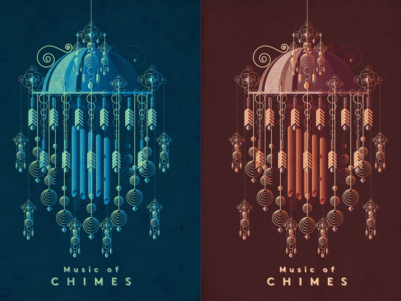Music of chimes decor artwork music gig festival surreal poster illustration