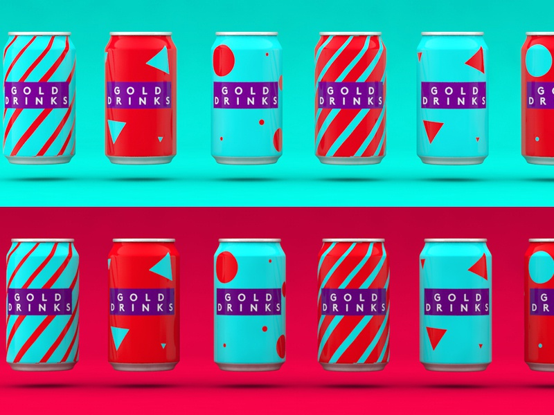 Gold Drinks graphic design 3d branding bottle cans packaging illustration