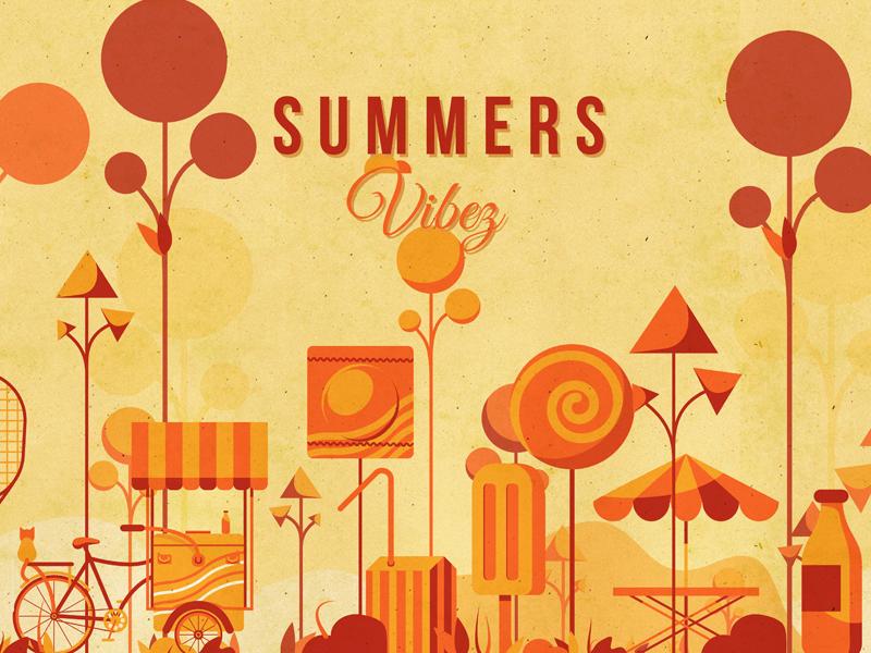 Summer Vibez cats cart vectors orange candies pop poster design illustration summer