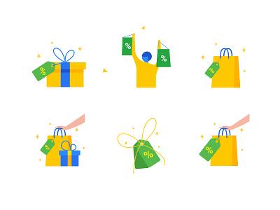 Offers Illustrations - Explorations product uiux app design inspiration discounts deals flipkart offers iconography vector illustration ecommence