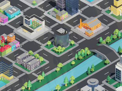 Isometric City modeling 3d residence commerce industry building city isometric