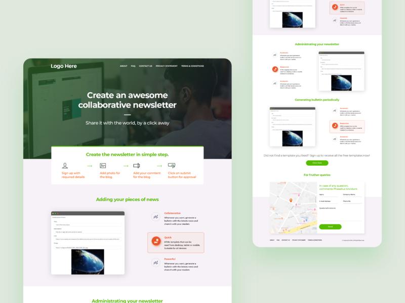 Newsletter Info Landing Page icon mockup adobe xd ui branding design adobe