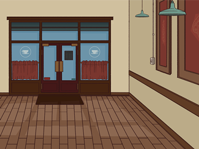Coffee Shop coffee shop wood floor door entryway coffee animation cartoon