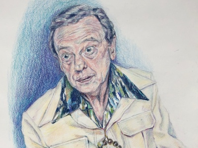 Ralph Furley illustration sketch drawing leisure suit pencil regal beegle buffalo ny traditional art art colored pencils colored pencil comedy greats don knotts threes company