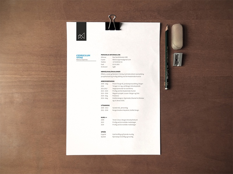 resume by marius sognnes