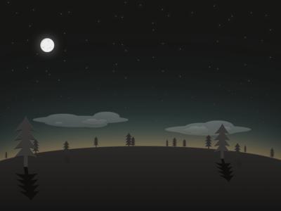 Sundown landscape night moon trees stars
