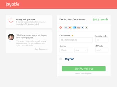 Joyable Checkout testimonial paypal credit card desktop checkout joyable