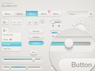 Blue Milk UI Kit (Updated) checkbox radio button ui kit blue milk settings search tags dial slider switch button menu interface