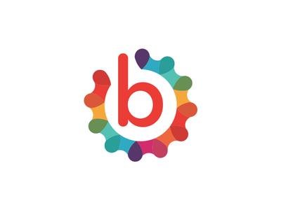 "Unused Rainbow ""B"" Gear Logo"