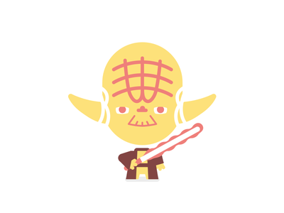 Yoda wars star yoda lightsabre starwars film red cute character vector