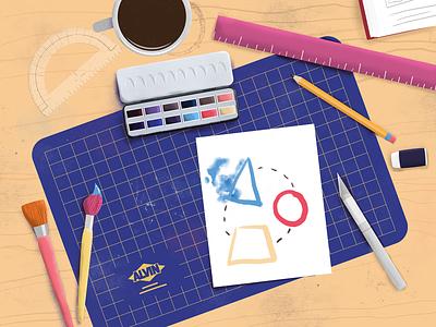 Colorful Desktop alvin x-acto ruler watercolors coffee paintbrush flat-lay illustration