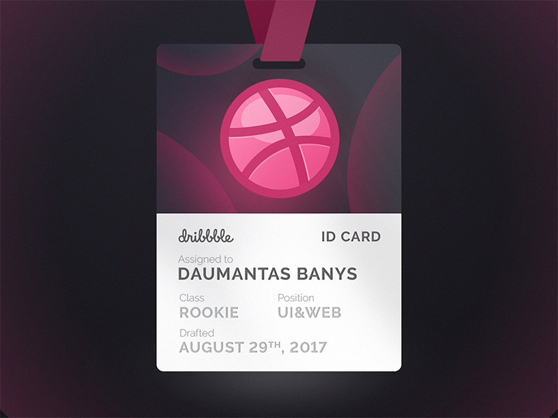 Newcomer's Dribbble ID card dribbble hello first shot invitation id debut