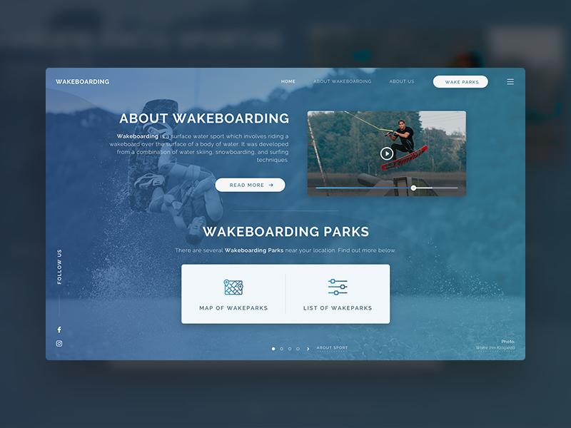 Wakeboarding web interface web interface user interface water sports wakeboarding web design fullscreen