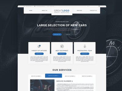 Vehicle services web template landing page cars vehicles web design user interface ux ui