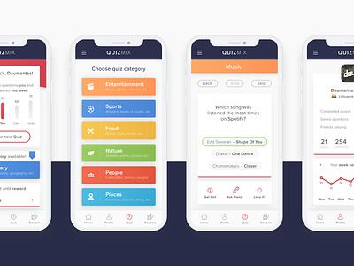 Trivia app – QuizMix quiz user interface user experience ux ui app trivia protopie adobe xd adobexd