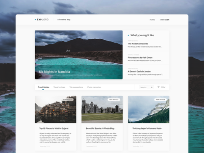 Explord – FREE UI Kit for Adobe XD adobe xd free ui kit ui design free design template ux design blog social media