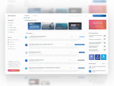 Community platform for designers ui design ui dashboard community clean forum forums adobe xd