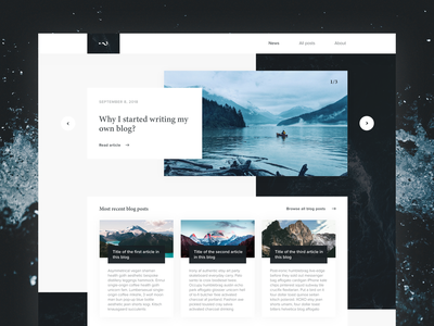 Personal blog interface template dribbble adobexd typography design ux design ux ui design interaction user interface web interface adobe xd minimalistic modern web design ui water clean blogging blog
