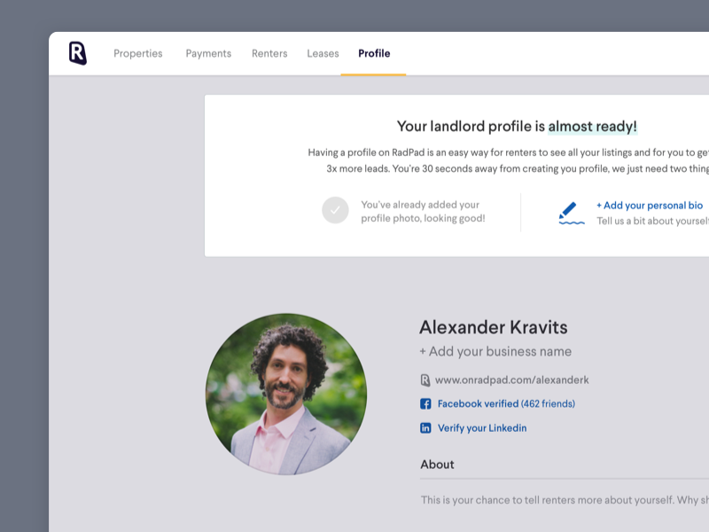 Profile Page empty state on-boarding profile