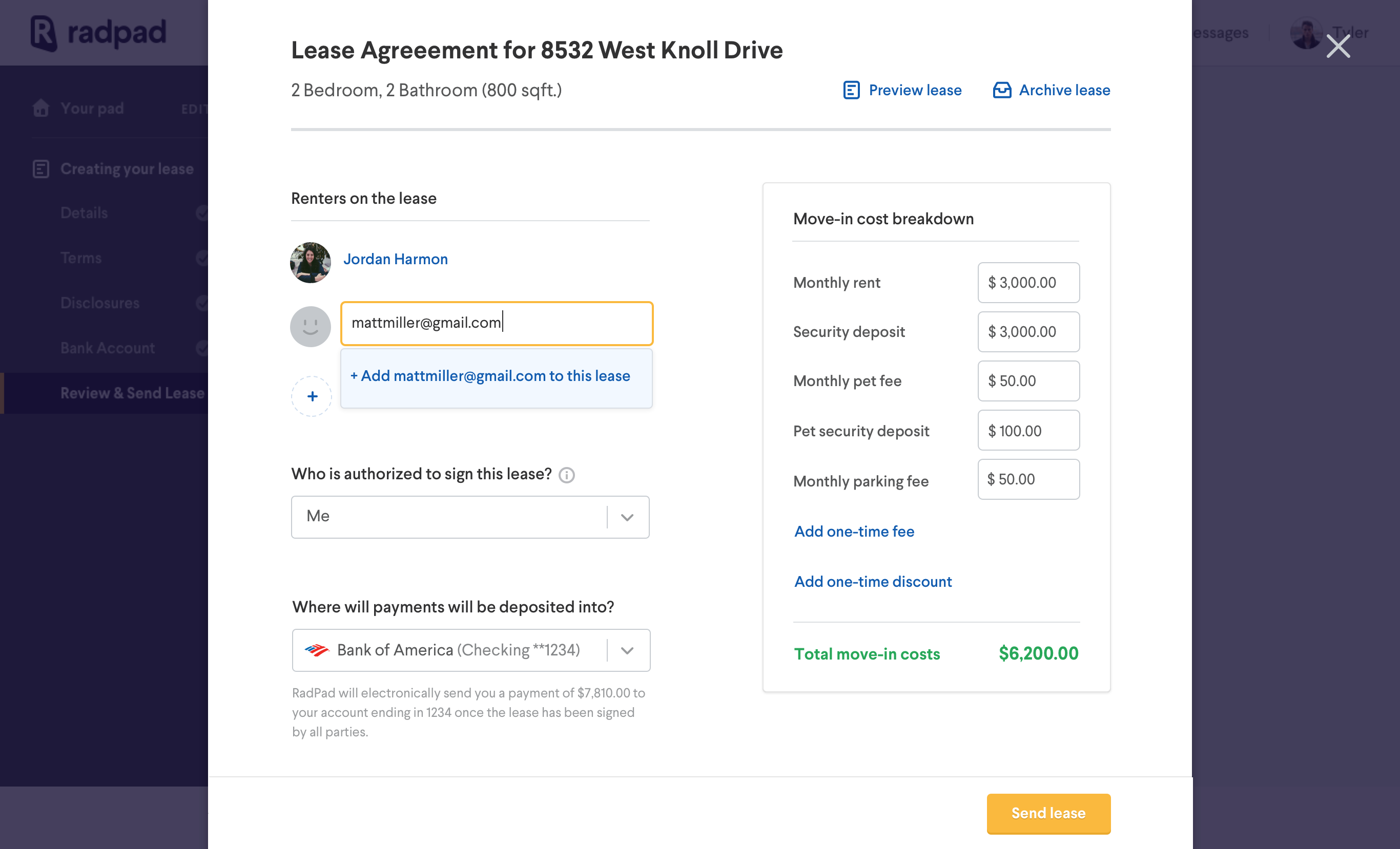 Lease overview  add renter email
