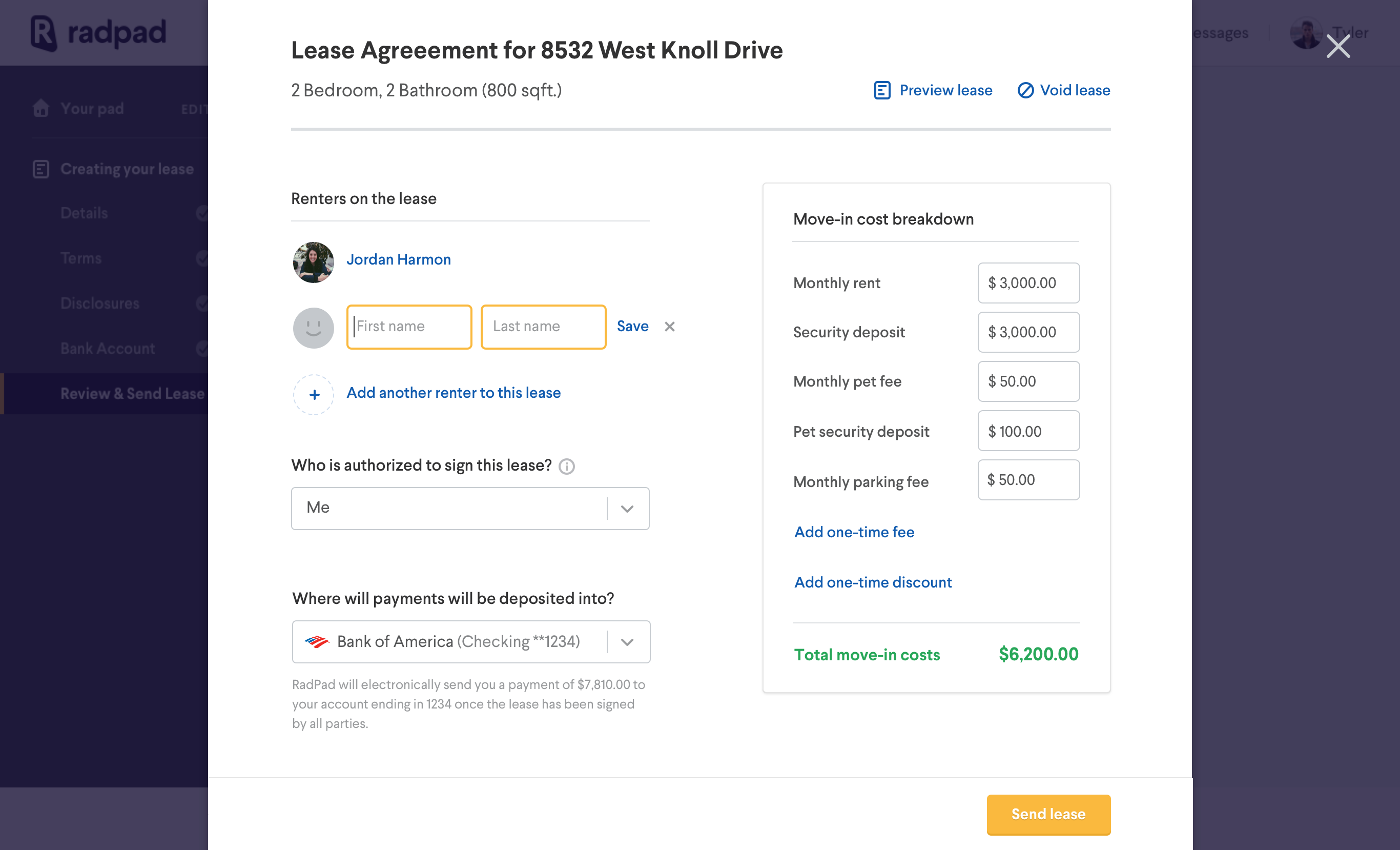 Lease overview  click to add renters name 2