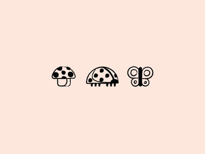 Icons // Forest butterfly lady bug mushroom vector outlines lineart illustration forest icon set icons icon design