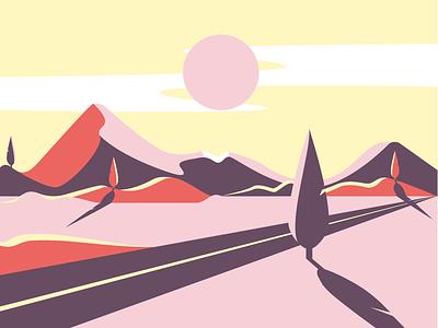 Landscape flat design sun print design flat illustration desert road trees mountains landscape vector