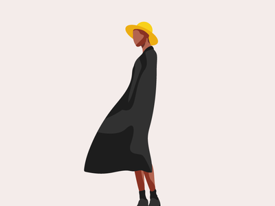 Woman with yellow hat contrasts minimalism hat character design character vector wind coat illustration minimal portrait woman