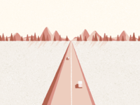 Road trip to the mountains mountain speckled rough textures vector trees nature car road trip road mountains landscape