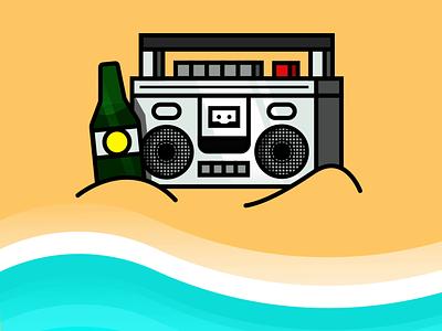 Beachin' summertime animation graphic design emblem logo flat design drawing icon illustration fun music stereo beach party beach